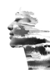 Paintography. Double Exposure portrait of a seductive ethnic woman's profile combined with hand drawn watercolor painting. black and white