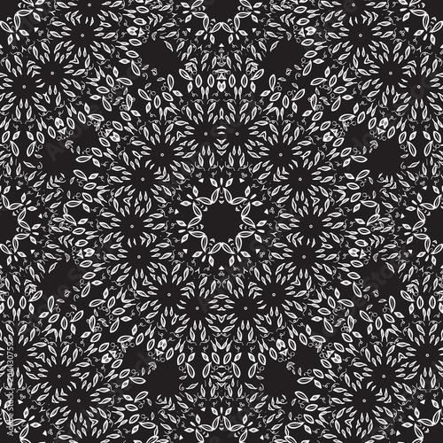 Cotton fabric Mandala Seamless pattern. Vector Hand drawing thin of white on dark.
