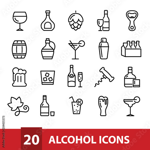 Tela alcohol vector icons collection