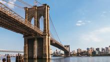 New York, USA / Brooklyn Bridge At Dusk