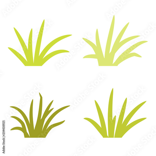 Obraz na plátne Set of grass tufts, clip art, transparent background