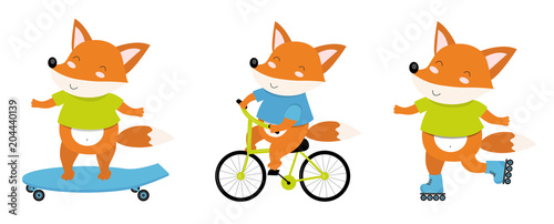 Printed kitchen splashbacks Fairytale World Vector illustration of sporty fox on a bicycle, roller skates, skate. Perfect for postcard, baby book, poster, banner