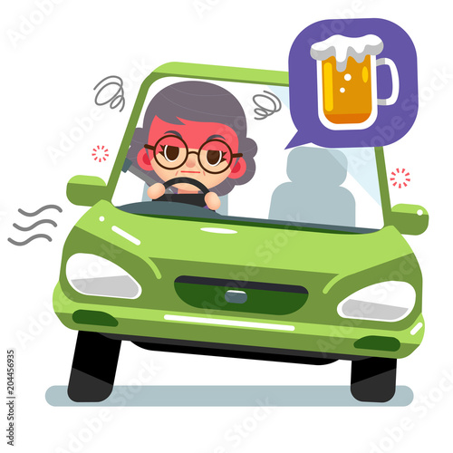 Staande foto Cartoon cars Vector drunk female elderly character driving a car