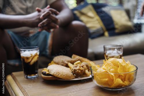 Pinturas sobre lienzo  Fast food on a sofa table