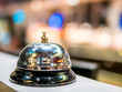 call bell service vintage bokeh background in restaurant and supermarket space colorful people blur.