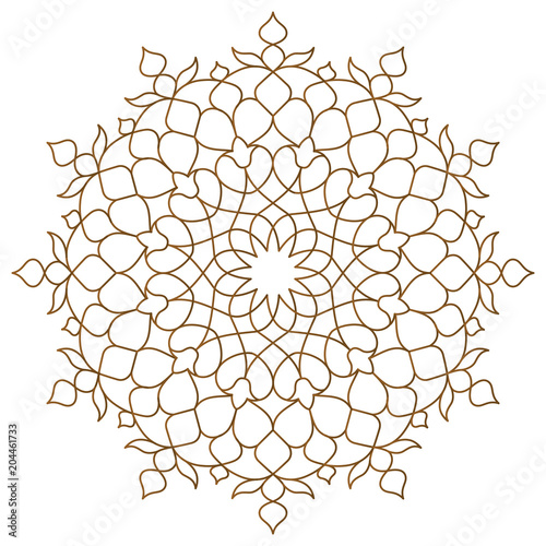 Arabic circle pattern monoline ornament Fototapet