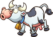 Mooing Cartoon Cow. Vector Cli...