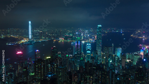 Canvas Print View on Hong Kong city at night with cyberpunk style