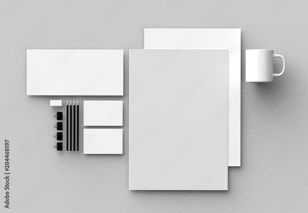 Fototapeta Corporate identity stationery mock up isolated on gray background. 3D illustrating.