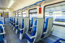 MOSCOW, RUSSIA, On MAY 10, 2018. Interior Of A Coach Of The Modern Local Train
