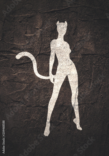 The Silhouette Of A Woman With Cat Ears And Tail