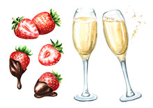 Glasses Of Champagne And Strawberry With Chocolate Set. Watercolor Hand Drawn Illustration,  Isolated On White Background