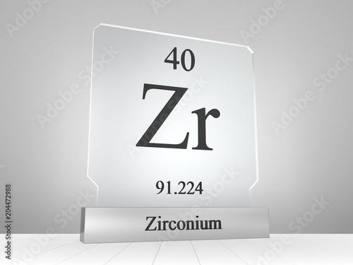 Fotografia, Obraz  Zirconium symbol on modern glass and metal icon