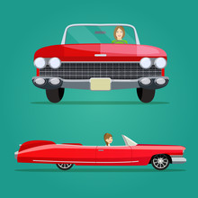 Red Cabriolet Two Angle Set. C...
