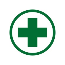 First Aid. Green Medical Cross Vector Icon. Medicinal And Pharmacy Sign. Cannabis Symbol.