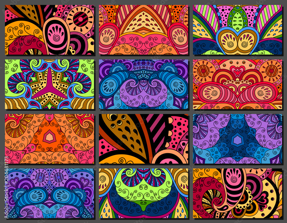 Photo  Set of decorative zentangle multicolor business card with ornament