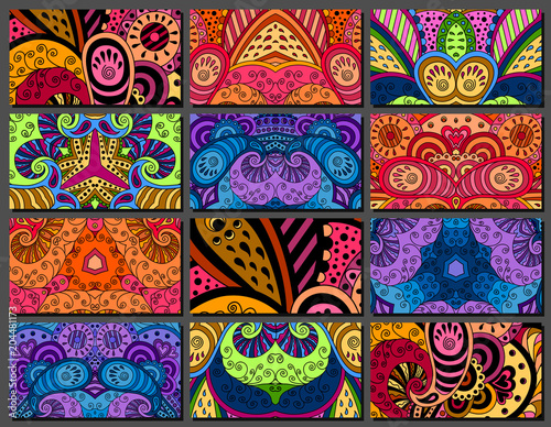 Set of decorative zentangle multicolor business card with ornament Fototapeta