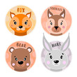 Cartoon set Vector Animals face,four objects fox, hare, bear, squirrel.