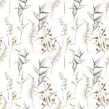 Akwarela lato pola zioła wzór. Ręcznie malowane tekstury z elementami botanicznymi: rośliny, trawa, jagody, paproć, liście. Naturalne powtarzające się tło - 204485325