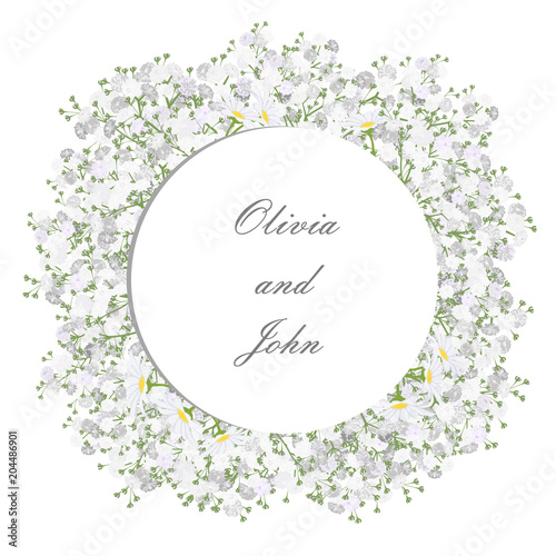 Fototapeta Round Frame With Daisy And Gypsophila Flowers For Wedding Invitation Card Design Vector Illustration