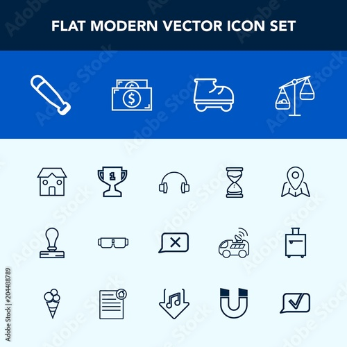 Modern, simple vector icon set with white, sound, award, location, measurement, Poster