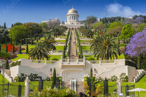 Fotografía View of Bahai gardens and the Shrine of the Bab on mount Carmel in Haifa, Israel