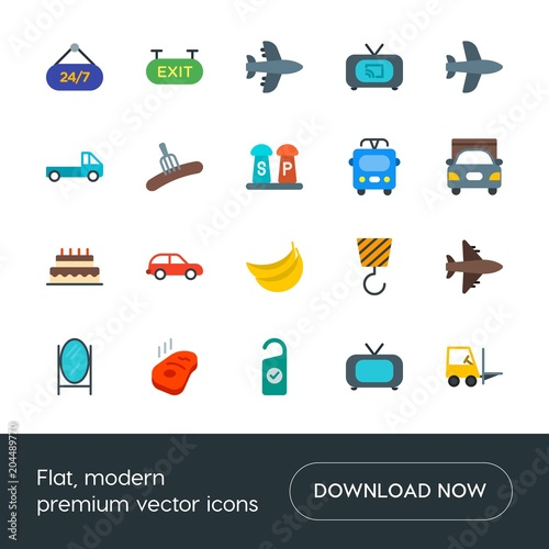 Modern Simple Set of transports, food, industry, hotel Vector flat