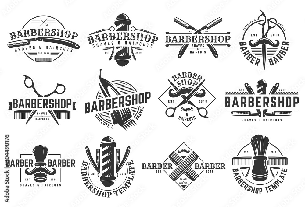 Fototapeta A set of Barbershop vintage Logo template on isolated white background