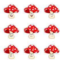 Cartoon  Toadstool Character Set Isolated On White Background