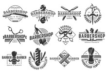 A Set Of Barbershop Vintage Logo Template On Isolated White Background