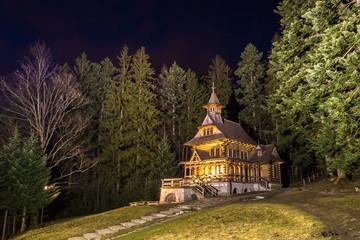 Chapel of the Sacred Heart of Jesus in Jaszczurowka at night, Zakopane, Poland