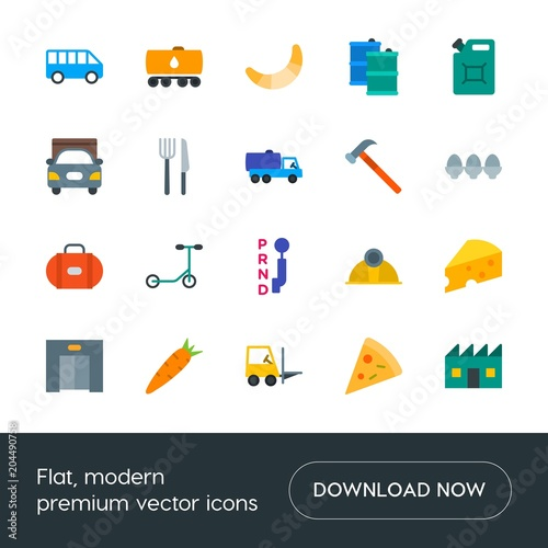 Fotografie, Obraz  Modern Simple Set of transports, food, industry, hotel Vector flat Icons