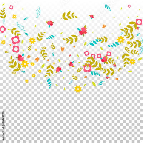 Floral Spring And Summer Vector Wallpaper With Flowers Leaves Butterflies Green Branches