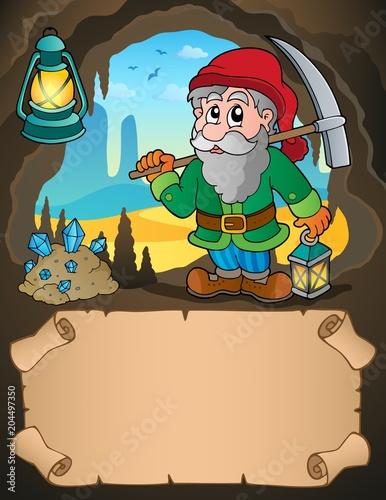 Foto op Canvas Voor kinderen Small parchment and dwarf miner 1
