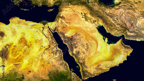 Fényképezés  Middle east, west asia, Israel and Iran as it looks like from space
