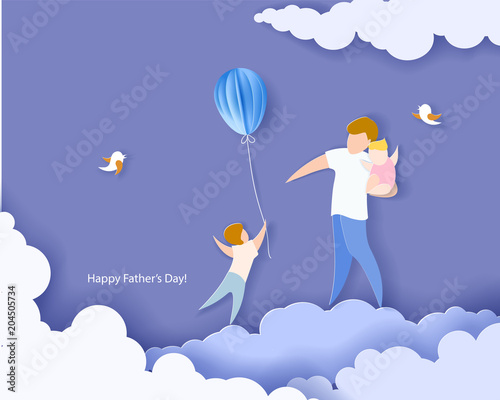 Poster Ciel Handsome man with his children and color balloons. Happy fathers day card. Paper cut style. Vector illustration