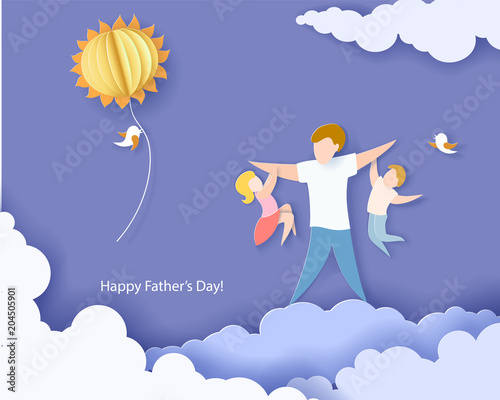Poster Ciel Handsome man with his children. Happy fathers day card. Paper cut style. Vector illustration