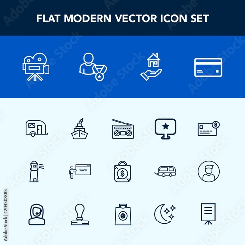 Modern Simple Vector Icon Set With Vehicle House Price