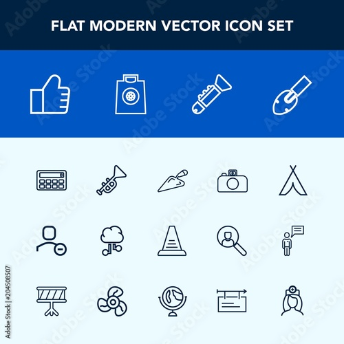 Modern, simple vector icon set with trumpet, search, banner, travel