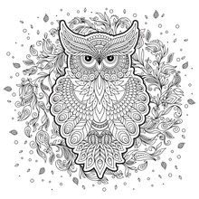 Coloring Page With Cute Owl A...
