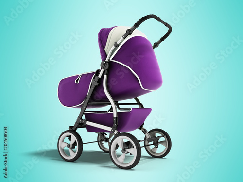 Photo  Modern baby carriage with dome against rain and wind violet with white insets 3D