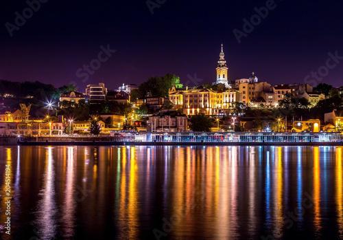 Belgrade dock and church 5 Canvas Print
