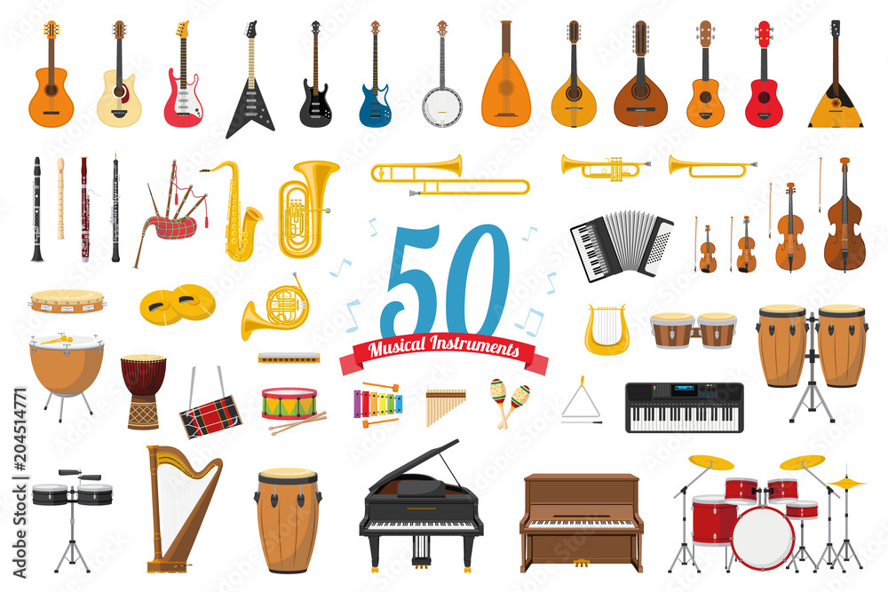 Fototapety, obrazy: Vector illustration set of 50 musical instruments in cartoon style isolated on white background