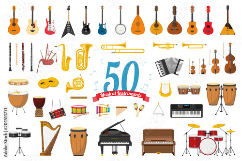 Fotografia  Vector illustration set of 50 musical instruments in cartoon style isolated on w