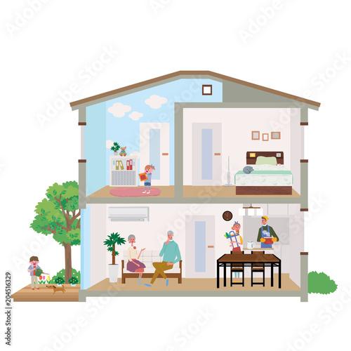 二世帯住宅 家 断面図 イラスト Canvas Print