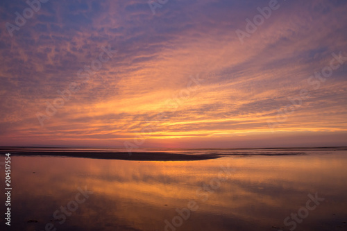 Printed kitchen splashbacks Eggplant Beach sunset with soft sky and clouds
