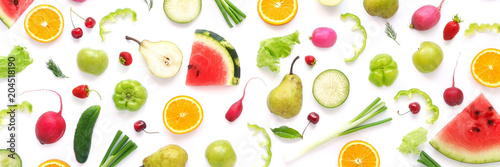 Cadres-photo bureau Cuisine Various vegetables and fruits isolated on white background, top view, flat layout. Concept of healthy eating, food background.