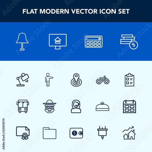 Modern, simple vector icon set with character, radius