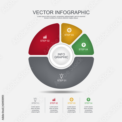Info Graphic Design Template 4 Steps Pie Chart And Business Concept