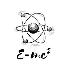 Atom Drawn With Formula. Vecto...